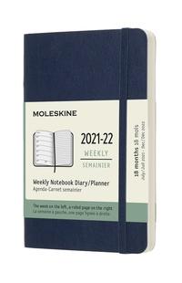 Plánovací zápisník Moleskine 2021-2022 měkký modrý S