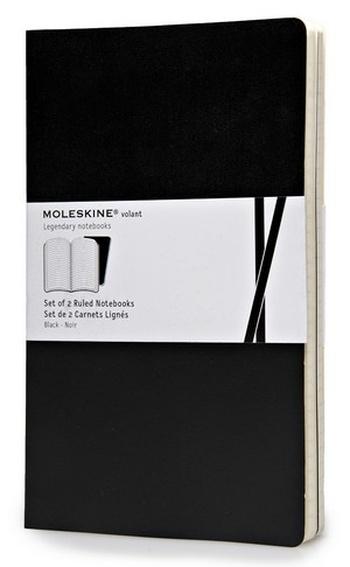 Volant zápisníky 2 ks, linkovaný, černý L