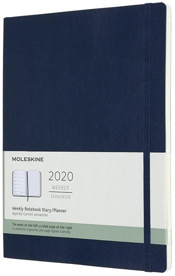 Plánovací zápisník Moleskine 2020 měkky modrý XL