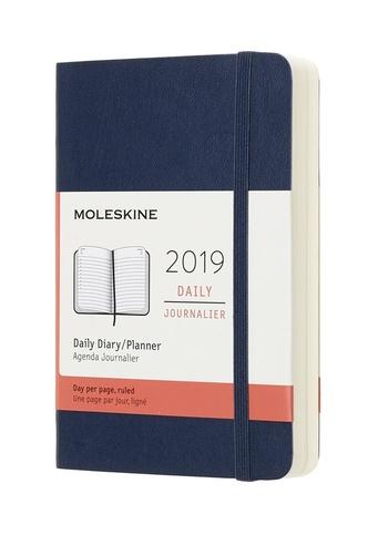 Diář Moleskine 2019 denní měkký modrý S