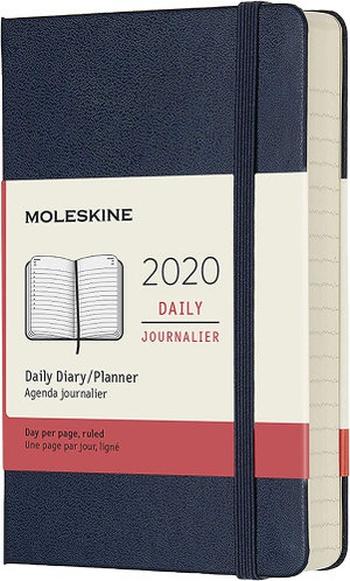 Diář Moleskine 2020 denní tvrdý modrý S