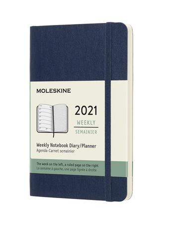 Plánovací zápisník Moleskine 2021 měkký modrý S