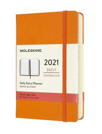 Diář Moleskine 2021 denní tvrdý oranžový S