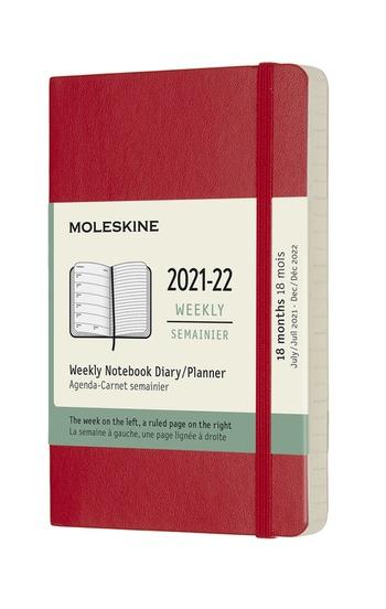 Plánovací zápisník Moleskine 2021-2022 měkký červený S