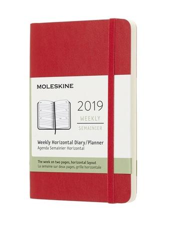 Horizontální týdenní diář Moleskine 2019 měkký červený S