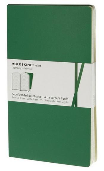 Volant zápisníky 2 ks, linkovaný, smaragdový L