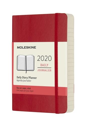Diář Moleskine 2020 denní měkký červený S
