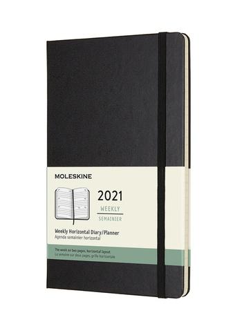 Horizontální týdenní diář Moleskine 2021 tvrdý černý L