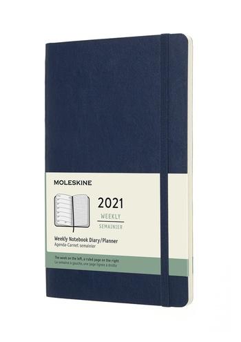 Plánovací zápisník Moleskine 2021 měkký modrý L