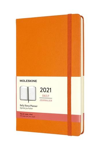 Diář Moleskine 2021 denní tvrdý oranžový L