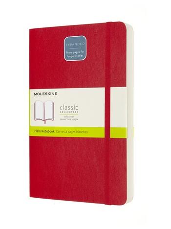 Zápisník Moleskine Expanded měkký čistý červený L