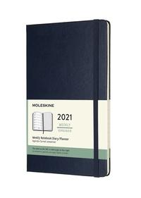 Plánovací zápisník Moleskine 2021 tvrdý modrý L