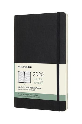 Horizontální týdenní diář Moleskine 2020 měkký černý L