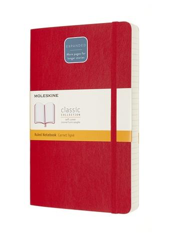 Zápisník Moleskine Expanded měkký linkovaný červený L