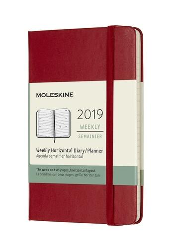 Horizontální týdenní diář Moleskine 2019 tvrdý červený S