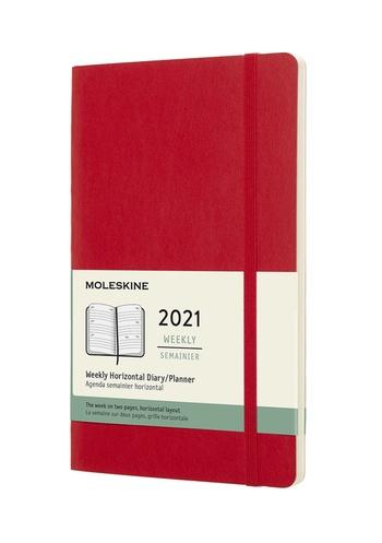 Horizontální týdenní diář Moleskine 2021 měkký červený L