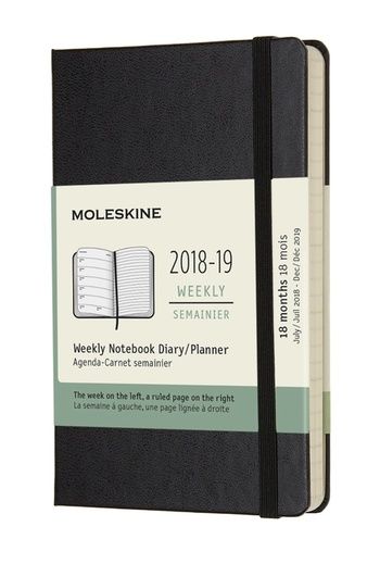 Plánovací zápisník Moleskine 2018-2019 tvrdý černý S