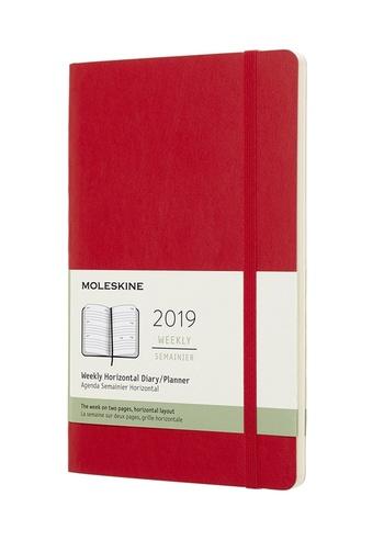 Horizontální týdenní diář Moleskine 2019 měkký červený L