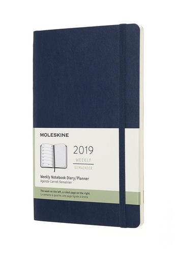 Plánovací zápisník Moleskine 2019 měkký modrý L
