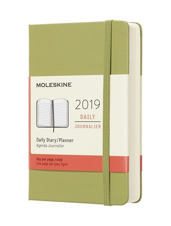Diář Moleskine 2019 denní tvrdý zelený S
