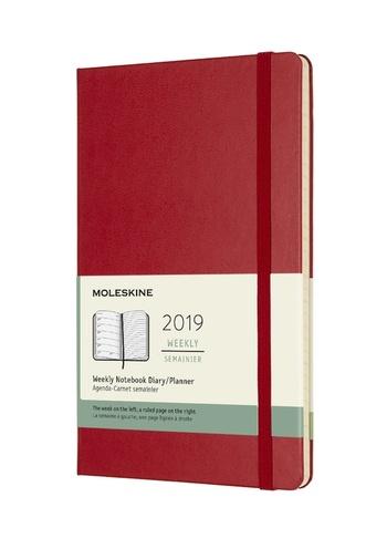 Plánovací zápisník Moleskine 2019 tvrdý červený L