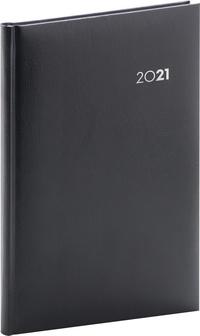 Týždenný diár Balacron 2021, čierny, 15 × 21 cm