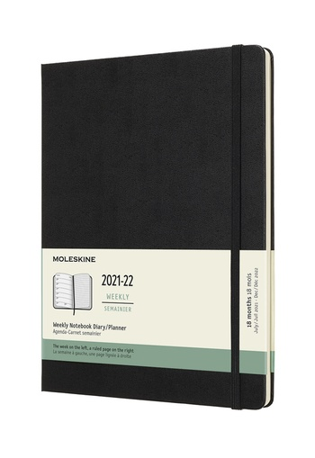 Plánovací zápisník Moleskine 2021-2022 tvrdý černý XL