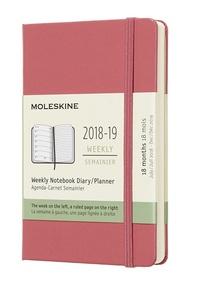 Plánovací zápisník 2018-2019 tvrdý růžový S