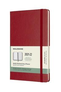 Plánovací zápisník Moleskine 2021-2022 tvrdý červený L