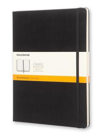 Zápisník, linkovaný, černý XL
