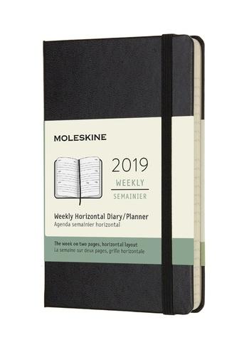 Horizontální týdenní diář Moleskine 2019 tvrdý černý S