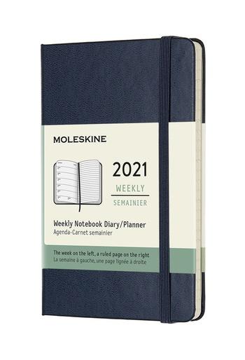 Plánovací zápisník Moleskine 2021 modrý černý S