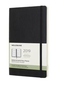 Horizontální týdenní diář Moleskine 2019 měkký černý L
