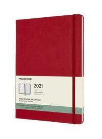 Plánovací zápisník Moleskine 2021 tvrdý červený XL
