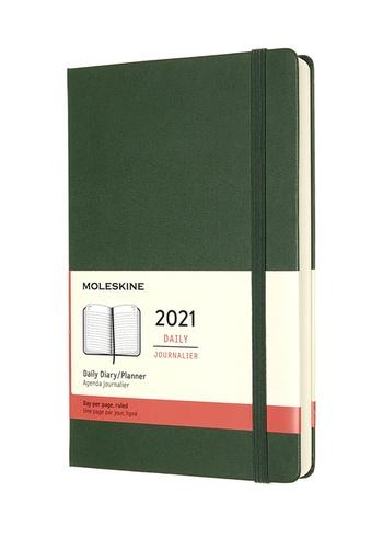 Diář Moleskine 2021 denní tvrdý zelený L