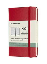 Horizontální týdenní diář Moleskine 2021 tvrdý červený S