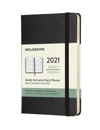 Horizontální týdenní diář Moleskine 2021 tvrdý černý S