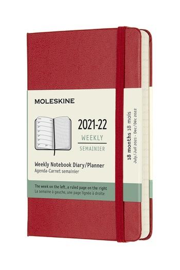 Plánovací zápisník Moleskine 2021-2022 tvrdý červený S