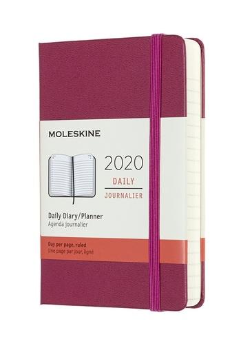 Diář Moleskine 2020 denní tvrdý růžový S