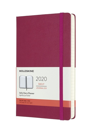 Diář Moleskine 2020 denní tvrdý růžový L