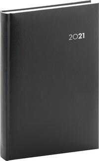Denný diár Balacron 2021, čierny, 15 × 21 cm
