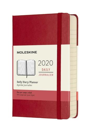 Diář Moleskine 2020 denní tvrdý červený S