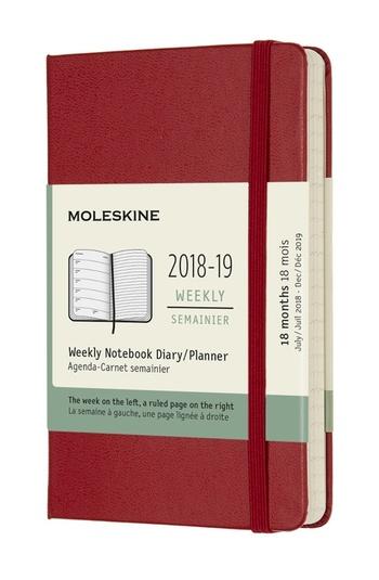 Plánovací zápisník 2018-2019 tvrdý červený S