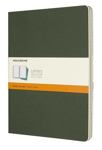 Sešity Moleskine 3 ks linkované zelené XL