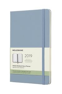 Plánovací zápisník Moleskine 2019 tvrdý světle modrý L