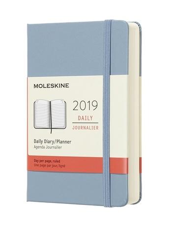 Diář Moleskine 2019 denní tvrdý světle modrý S