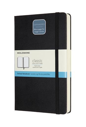 Zápisník Moleskine Expanded tvrdý tečkovaný černý L