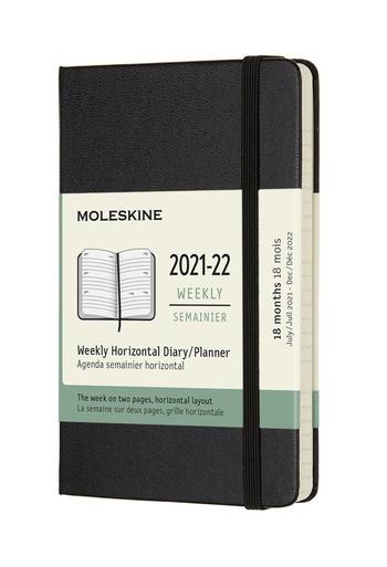 Horizontální diář Moleskine 2021-2022 tvrdý černý S